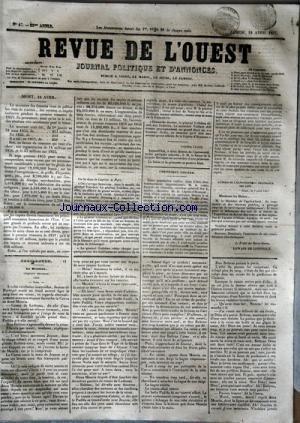 REVUE DE L'OUEST [No 47] du 18/04/1857 - LE MINISTERE DES FINANCES VIENT DE PUBLIER LES ETATS DE RECETTES -CHRONIQUE LOCALE / M. LECOMTE EURYALE DE GIRARDIN RECEVEUR-GENERAL DES FINANCES -FEUILLETON / LE BRASERO - CHRONIQUE ESPAGNOLE