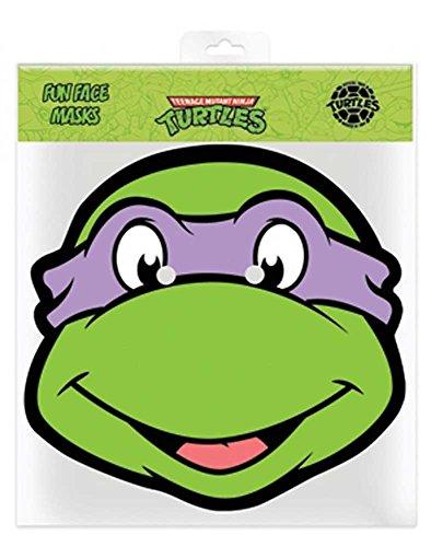 (TMNT Donatello - Ninja Turtles Papp Maske, aus hochwertigem Glanzkarton mit Augenlöchern, Gummiband - Grösse ca. 30x20 cm)