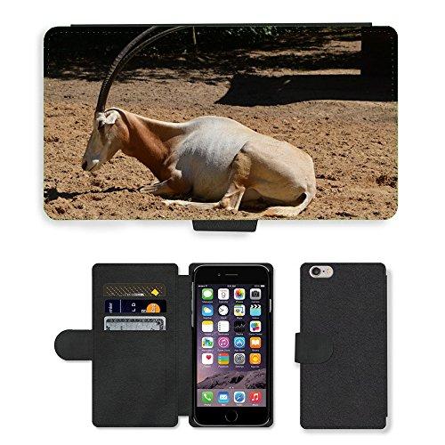 Just Mobile pour Hot Style Téléphone portable étui portefeuille en cuir PU avec fente pour carte//m00138463antilope herbe Oryx cimeterre buissons//Apple iPhone 6Plus 14cm