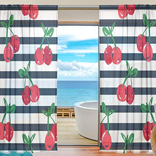 ALARGE Window Sheer Curtain Fruit Cherry Stripe Pattern Voile Curtain Drapes Decor Kitchen Living Room Bedroom 55x84 Inches Long, 2 Panels - Sheer Cherry