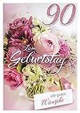 A4 XXL Geburtstagskarte Damen zum 90.: Bouquet rosé-weiß