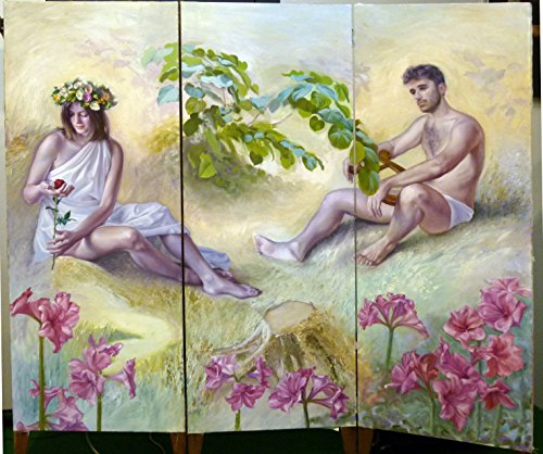 Originale e pregiato dipinto ad olio su paravento, pezzo unico realizzato nel 2010 dall'artista fiorentino Francesco Farolfi ( www.atelierfarolfi.com ), raffigurante Flora ed Orfeo.