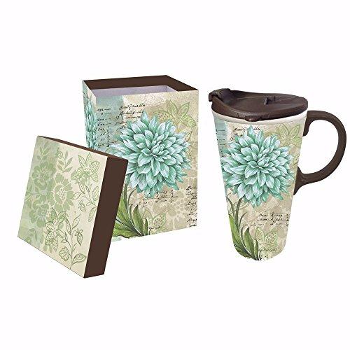 Cypress Home Turquoise Dahlia Ceramic Travel Coffee Mug, 17 ounces by Cypress 17 Oz Mug
