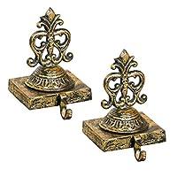 Dibor 2 Gold Cast Iron Christmas Stocking Holder Hanging Hooks - 1.5kg (B675)