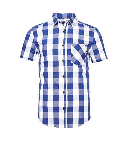SOOPO Herren Kurzarm Hemd Regular Fit Blau Kariert Freizeithemd aus Reine Baumwolle Blau und weiß S