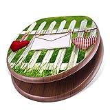 banjado Design Toilettensitz mit Absenkautomatik, WC-Sitz Holz, Klodeckel mit Metall Scharnieren, Toilettendeckel mit Motiv Gartenzaun