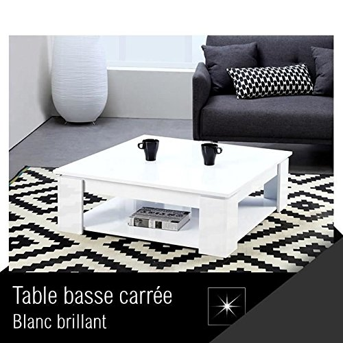 MANHATTAN Table basse carrée blanc brillant