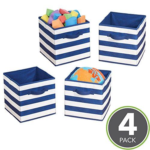 mDesign 4er-Set Aufbewahrungsbox für Spielzeug - quadratische Stoffkiste für Kinderzimmer oder Schlafzimmer - Spielzeugkiste mit Griffen - marineblau/weiß (Quadratische Aufbewahrungsbox)