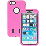 New Apple iphone 6 Case cover Durable Shockproof Armor Case 3in1 Combo Rigid PC + Soft Silicone Protective Case (Pink)