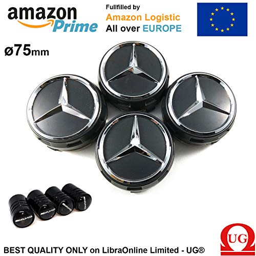 Libra x4 Hub Caps 75mm Logo Mercedes Black Raised AMG, used for sale  Delivered anywhere in UK