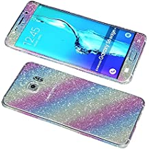 nnopbeclik Bling brillante Diamond indescriptible Completo Cuerpo Sticker película Protector Skin adhesivo purpurina pantalla–Protector de pantalla para Samsung Galaxy S6Edge Plus–Plata + 1x templado vidrio Protector de pantalla