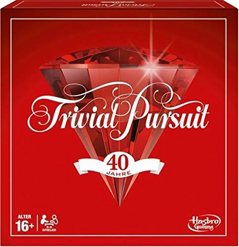 Hasbro Spiele E1923100 Trivial Pursuit 40 Jahre Jubiläumsausgabe, klassisches Familienspiel, Rot