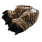 Tierhausschuhe Tiger Tatze Tier Hausschuhe Pantoffel Puschen Schlappen Kuscheltier Plüsch Herren Schwarz 41-46, TH-TIGERCLAW, Schuhgröße 45/46