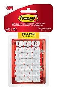 Command - Gancetti a clip trasparenti, riutilizzabili, ideali per decorazioni temporanee, 48 striscette adesive incluse
