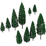 10pcs 1.9 Pulgadas - El Modelo De árboles Piramidales Del Paisaje De Tren 6.3 Pulgadas Escala 1/50