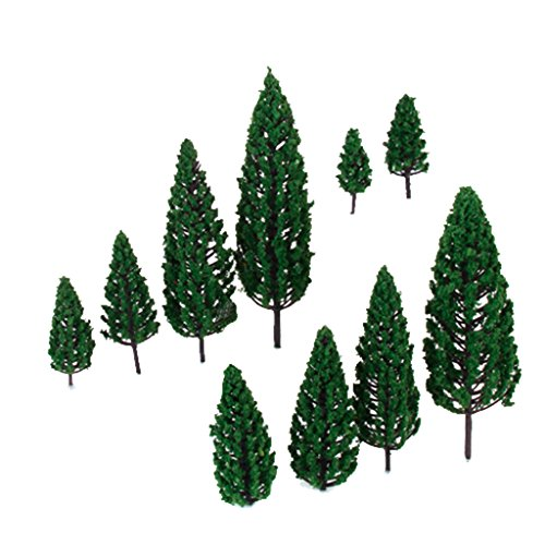 10pcs-19-inch-63-inch-train-set-scenery-landscape-model-pyramidal-trees-scale-1-50