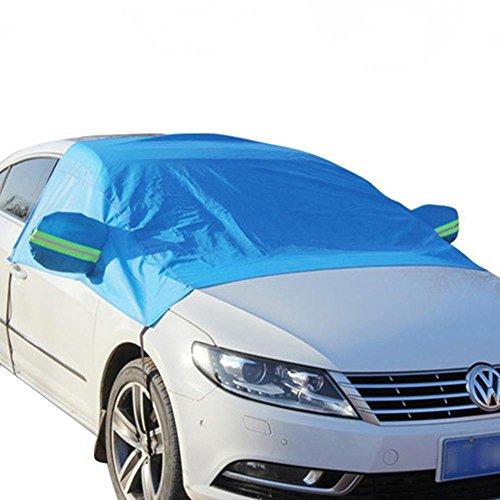 KOBWA Auto Scheibenabdeckung Frostabdeckung & Sonnenschutz, Frontwindschutzscheibe Winter Schneeschutz Eisschutzfolien, mit Reflektierende Warnung Bar und Spiegelabdeckungen- Blau