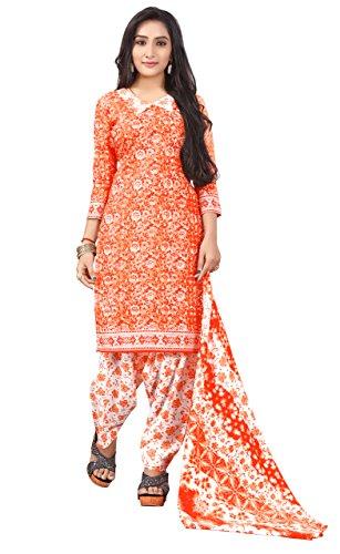 Justkartit Stylish Orange Color Printed Cotton Salwar Kameez Suits Dress Material 2018
