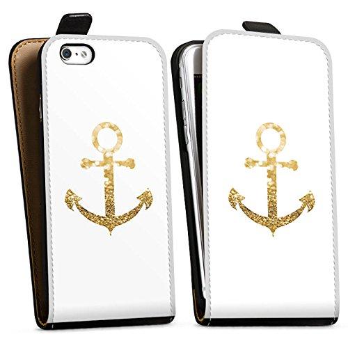 Apple iPhone 7 Hülle Case Handyhülle Anker Gold Sommer Downflip Tasche schwarz