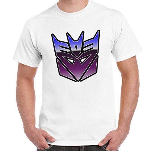 T-Shirt Divertente Uomo Maglietta Stampa Cartoni Anni 80 Transformers Decepticon Imperdibili, Colore: Bianco, Taglia: L