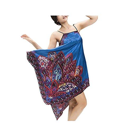 Sunbo Damen Negligee Gr. M, dunkelblau (Lace Sleepshirt Trim Blau)
