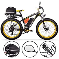 RICH BIT Bicicleta eléctrica para Hombres E-Bike Fat Snow Bike 1000W-48V-17Ah Li-batería 26 * 4.0 Bicicleta de montaña MTB Shimano 21-Speed Disc Brakes Intelligent Electric Bike (Yellow Plus)