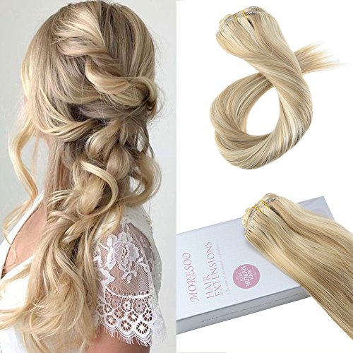 Moresoo 18 Zoll Brasilianer Remy Echthaar Extensions Clip in Gloden Blonde Higlighted with Blonde Double Weft Clip in Extensions für Komplette Haarverlängerung 120g/7pcs