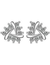 AnaZoz Fashion Jewelry Women Earrings Silver Plated Stud Earrings Water Drop Shape Elegant Fashion Wedding