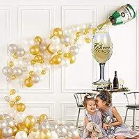 U&X Champagne Bottle Confetti Balloons 42 PCS for Christmas Eve, Bridal Hen,Wedding Celebration