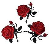 Souarts Aufnäher Kleidung Patch Applikationen zum aufbügeln DIY Aufbügler Rose Blumen Muster