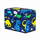 Dino in the Dark Print Children's Large Storage Wooden Toy Box with Soft Padded Seat and Soft Closing