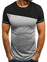 Kobay Uomo Estate Muscle Casuale Sottile Fit Manica Corta Patchwork  Camicetta Superiore Tee Shirt f3c5ae043d40