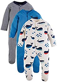 Marks & Spencer Baby Boys 3 Pack Organic Cotton Nautical Sleepsuits, Blue