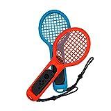 Mcbazel DOBE 2 Stück Tennisschläger für Nintendo Joy-Con Controller für Mario Tennis Aces Somatosensorik-Spiele(2-er, Blau / Rot)