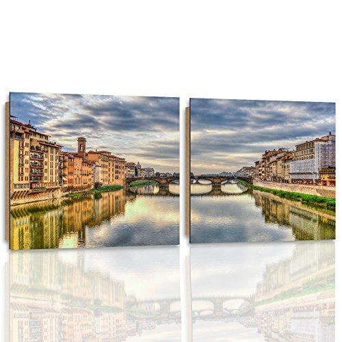 Florenz-panel (Feeby. Wandbilder - 2 Teile - 200x100 cm - quadratische Form Bilder Kunstdrucke Deko Panel FLORENZ, ARCHITEKTUR, BLAU, BRAUN)