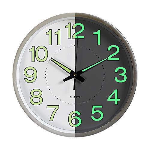 ufengke Lustige Silber Leuchtend Wanduhr mit Beleuchtet Zahlen und Zeiger Quarzuhr Deko für Wohnzimmer Schlafzimmer, Durchmesser 30cm