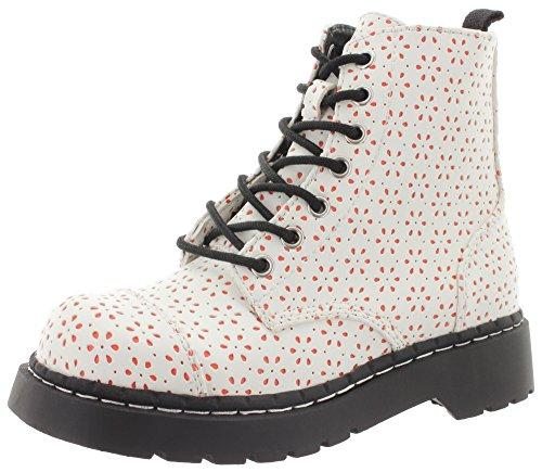 T.U.K. Boots White Flower Coral Pop 7Eye t2248 Blanc - Blanc