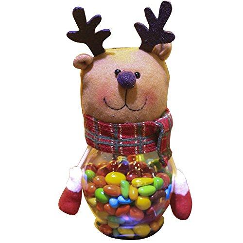 Hrph Bocal de Bonbons Chocolats Bonbonnières Sucrerie de Noël Père / Bonhomme de Neige / Elk Cadeau Noël Décoration de Noël Fenêtre Ornements