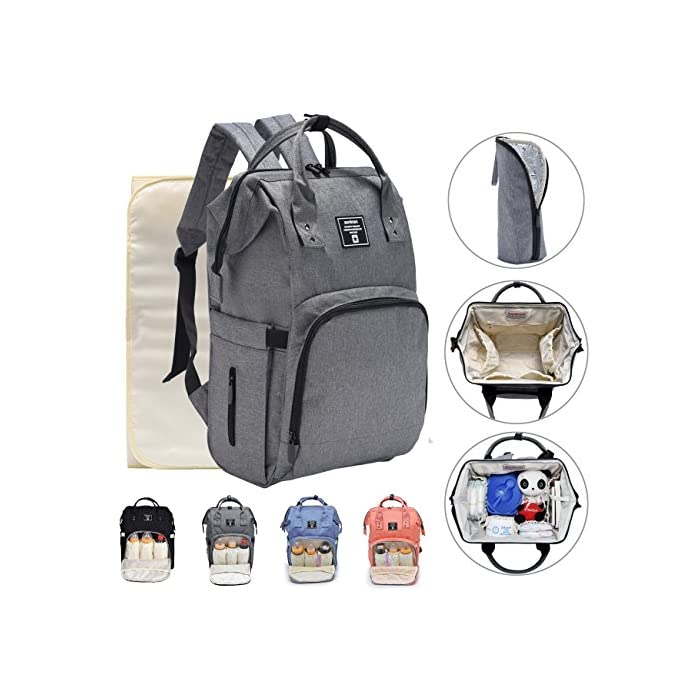 403c2fd5b95d iDxiar Baby Changing Rucksack, Large Nappy Change Backpack Waterproof  Diaper Bag for Mum Dad Travel w Changing Pad, Stroller Straps