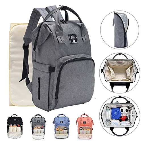 Large Nappy Changing Backpack,Baby Diaper Bag Rucksack w Waterproof Changing Mat Stroller Straps Insulated Pockets 519gBKzrtJL