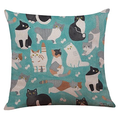 Indexp Cute Cat Pattern Printing Festival Throw Cushion Cover Sofa Home  Decoration Pillow Case (Style