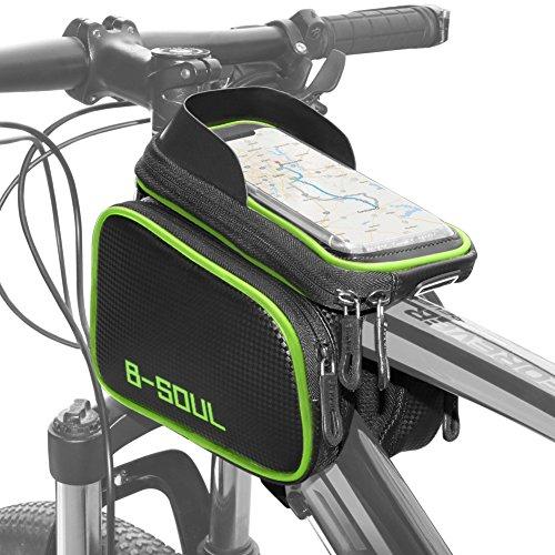 COFIT 3 in 1 Borsa per Manubrio Bici di Grande capacità Verde, Custodia per Bicicletta Porta Cellulare per Bicicletta con Touch Screen Sensibile all'Acqua Adatta per Cellulari Smart sotto 7.1 inch