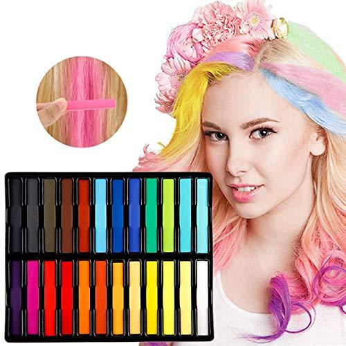 Kyerivs Haar Kreide Temporäre Haarfarbe 24 Farben Nontoxic Instant Einmalige mit Handschuhe und Scha funktioniert auf allen Haarfarben (Haarfarbe Temporäre Spray)