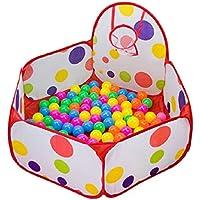 Amison - Piscina de bolas infantil con aro de baloncesto, diseño hexagonal con lunares, desplegable (bolas no incluidas)