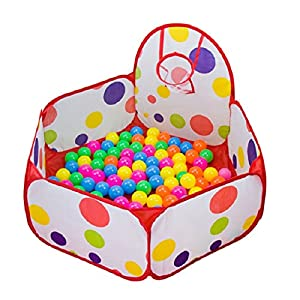 Ball Pit Bälle Pool mit Mini Basketballkorb, Amison Pop Up Sechseck Polka Dot...