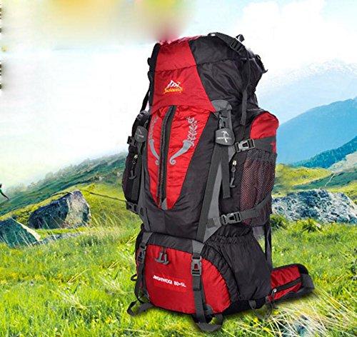 All'aperto alpinismo professionale zaino 75 + 5L borsa campeggiare campeggio escursionismo , green Red