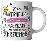 vanVerden Tasse Echte Superhelden gehen in den Kindergarten man nennt sie auch Erzieher, Farbe:Weiß/Pink