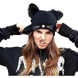 Hosaire 1x Turbante de Pelo Bandana Negro Orejas de Gato Elasticidad Chemo Cabeza Tapa Sombrero de Casquillo para la Danza de la Calle Cap,la pérdida de Cabello