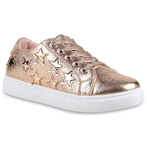 0df099437db01e Damen Sneakers Basic Sportschuhe Schnürer Lederoptik Schuhe Rose Gold Sterne