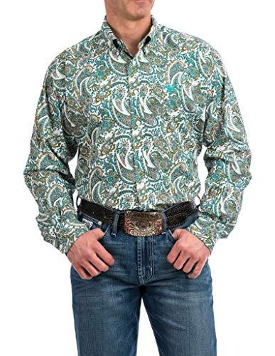 Cinch Herren Classic Fit Long Sleeve One Open Pocket Print Shirt Button Down Hemd, Cesar Paisley, Klein - Paisley Print Western Shirt